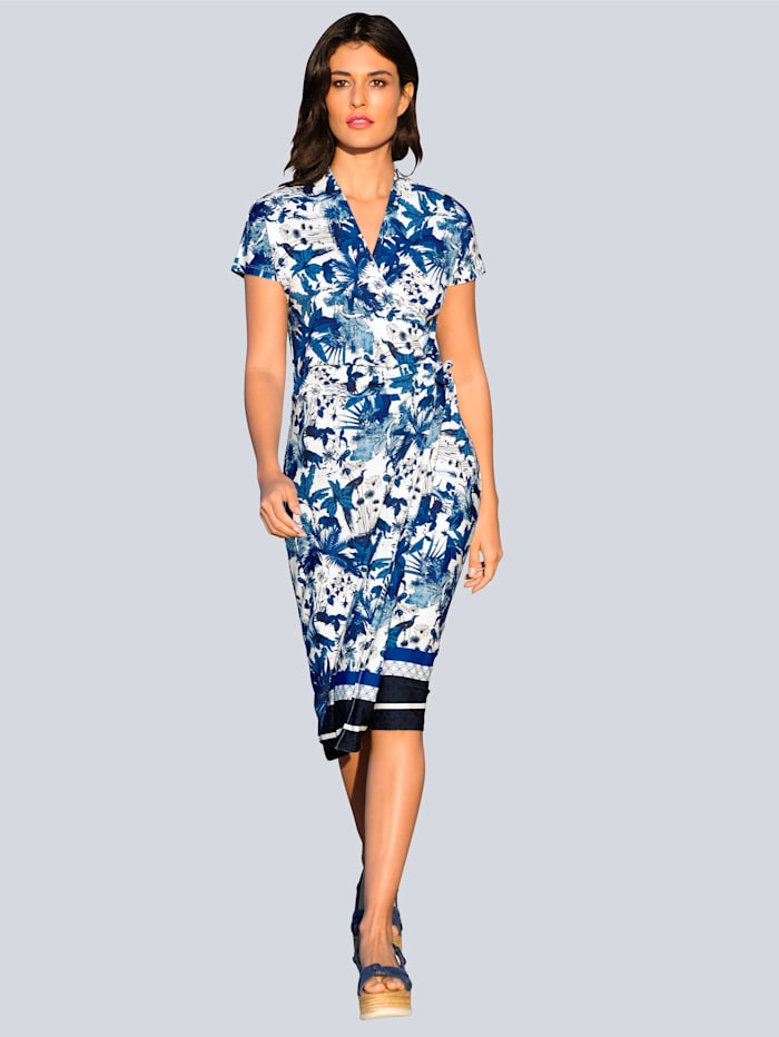 Alba Moda Jerseykleid im exklusiven Alba Moda Print, Blau/Off-white