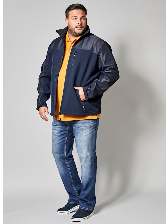 Men Plus Softshelljacke mit Stehkragen, marine