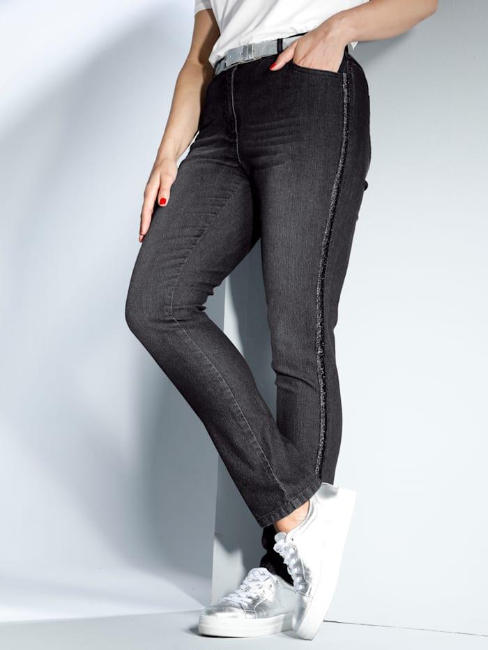 MIAMODA Jeans mit streckendem Glitzerdekoband seitlich, Black