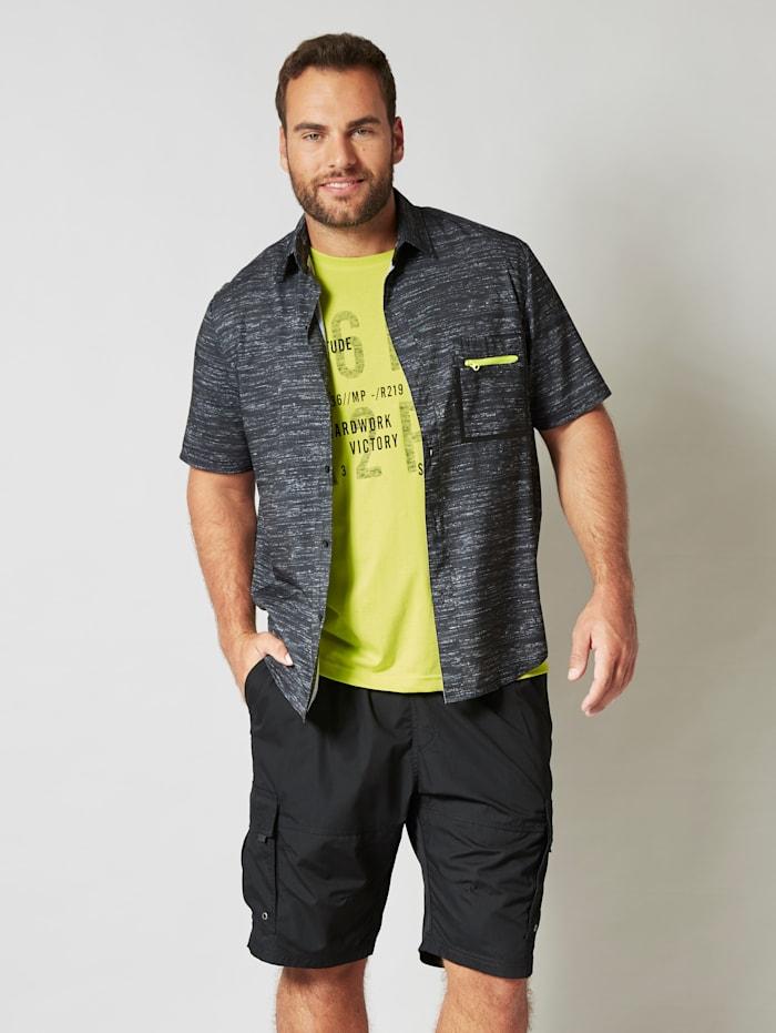 Men Plus Overhemd van sneldrogend materiaal, Zwart/Grijs/Neongeel