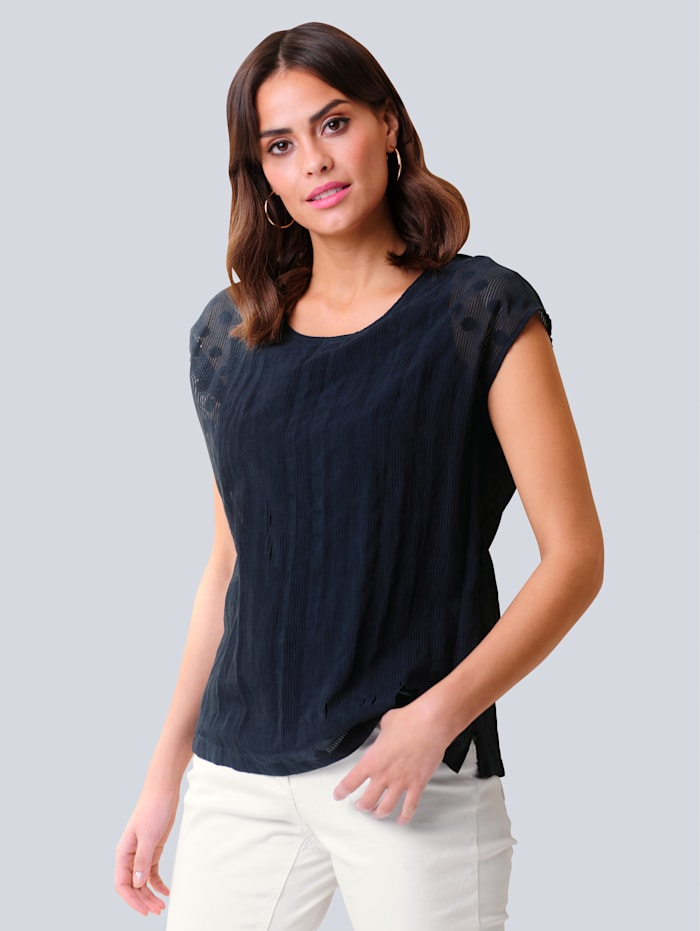 Alba Moda Blusenshirt in transparenter Ausbrenner-Qualität, Marineblau