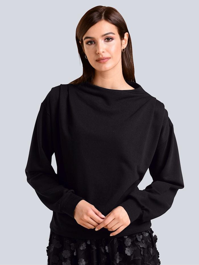 Alba Moda Sweatshirt mit Raff-Details, Schwarz