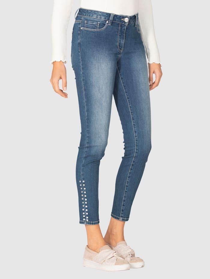 AMY VERMONT Jeans med naglepynt, Blue stone