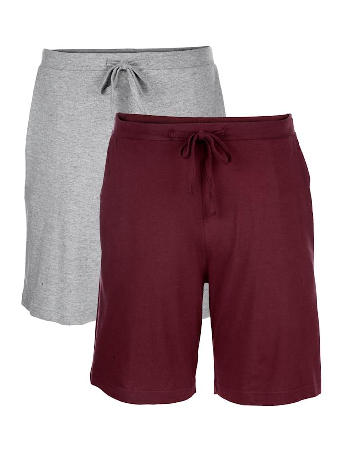 Shorts, Bordeaux/Grau