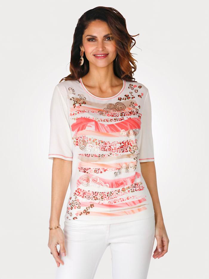 Barbara Lebek T-shirt à imprimé placé, Écru/Corail