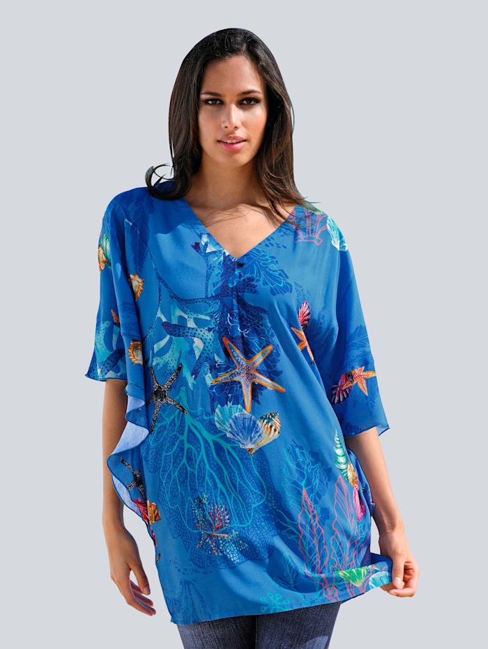 Alba Moda Strandshirt mit Unterwassermotiven, Blau