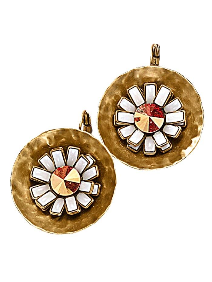 Boucles d'oreilles fleurs serties de cristaux Swarovski