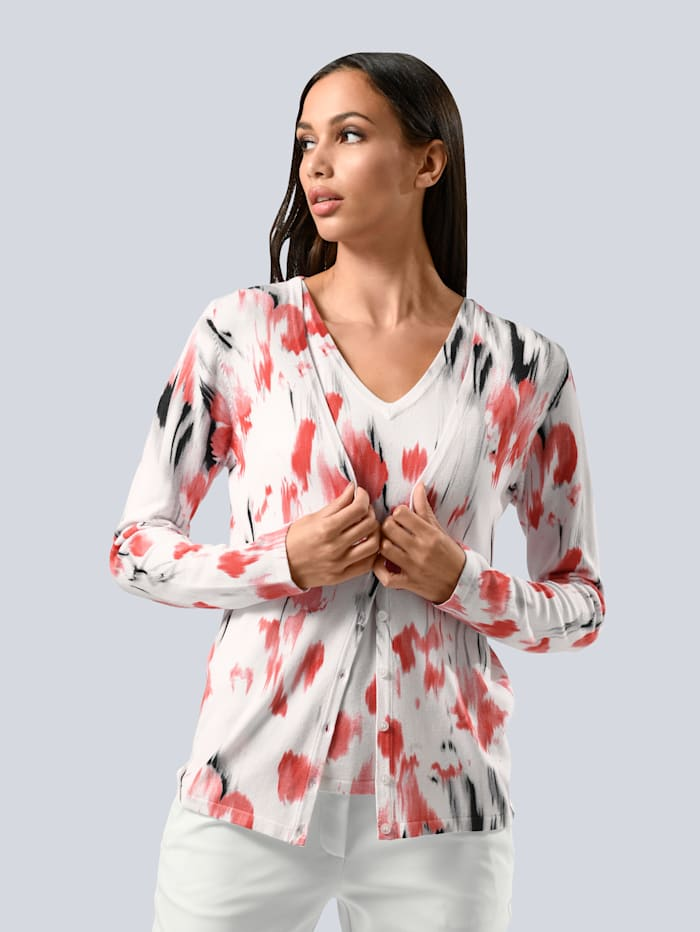 Alba Moda Vest met exclusief Alba Moda dessin, Wit/Zwart/Koraal