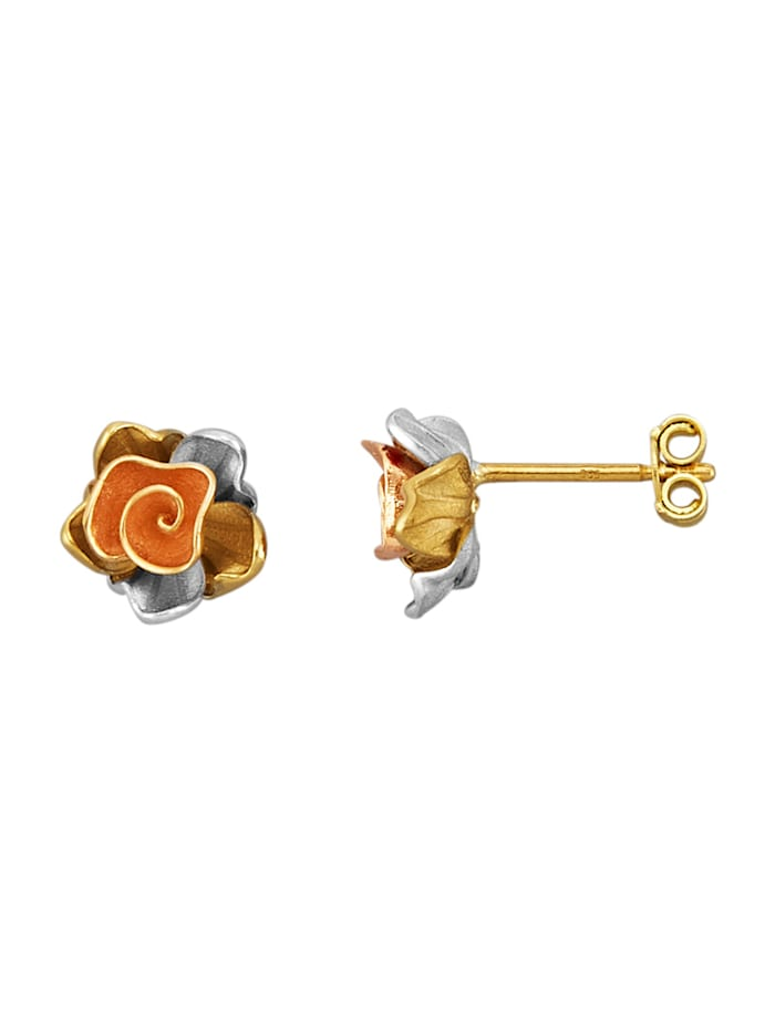 Amara Or Boucles d'oreilles Fleurs en or jaune 585, Multicolore