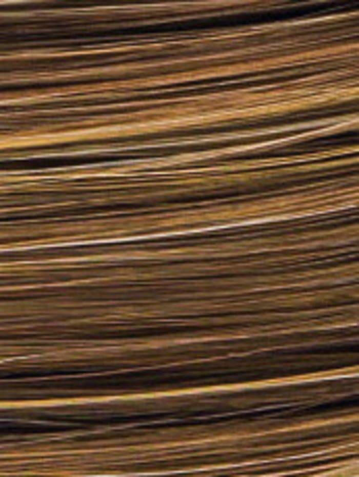 Lofty Perruque Saskia, châtain moyen/mèches or ambré