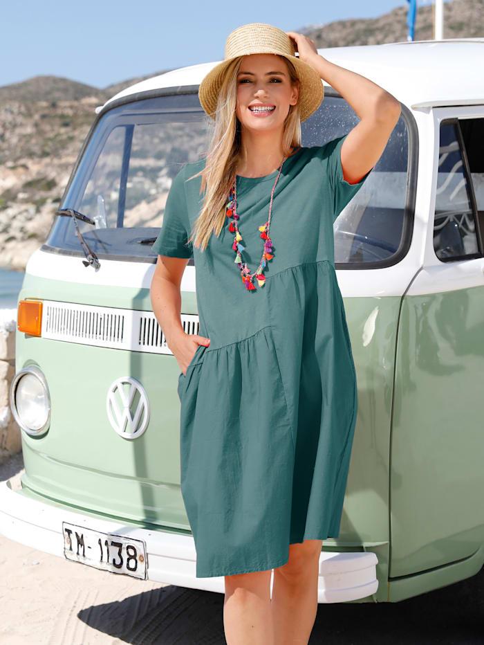 MIAMODA Kleid mit gewebtem Einsatz, Mintgrün