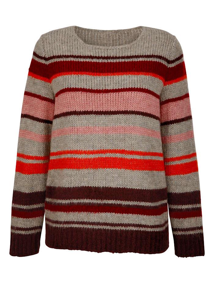 Dress In Pullover in trendigem Streifendesign, Bordeaux