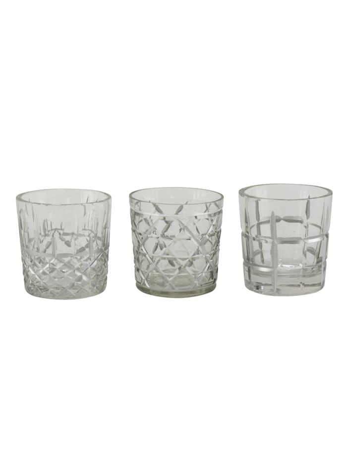 MARAVILLA Teelichthalter-Set, 3-tlg., Transparent/Silberfarben