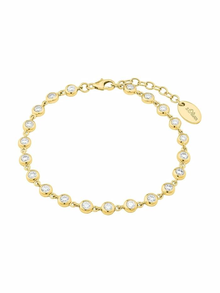 s.Oliver Armband für Damen, Silber 925 vergoldet mit Zirkonia, Gold
