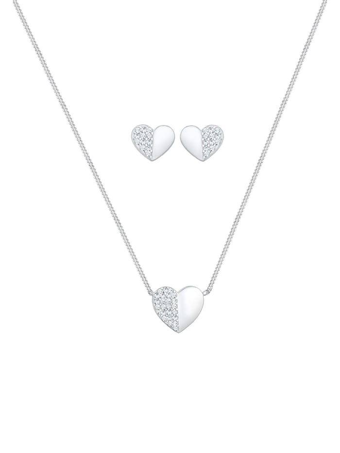 Schmuckset Herz Liebe Swarovski® Kristalle 925 Silber Playful