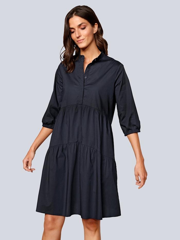 OUI Kleid mit Volants, Dunkelblau