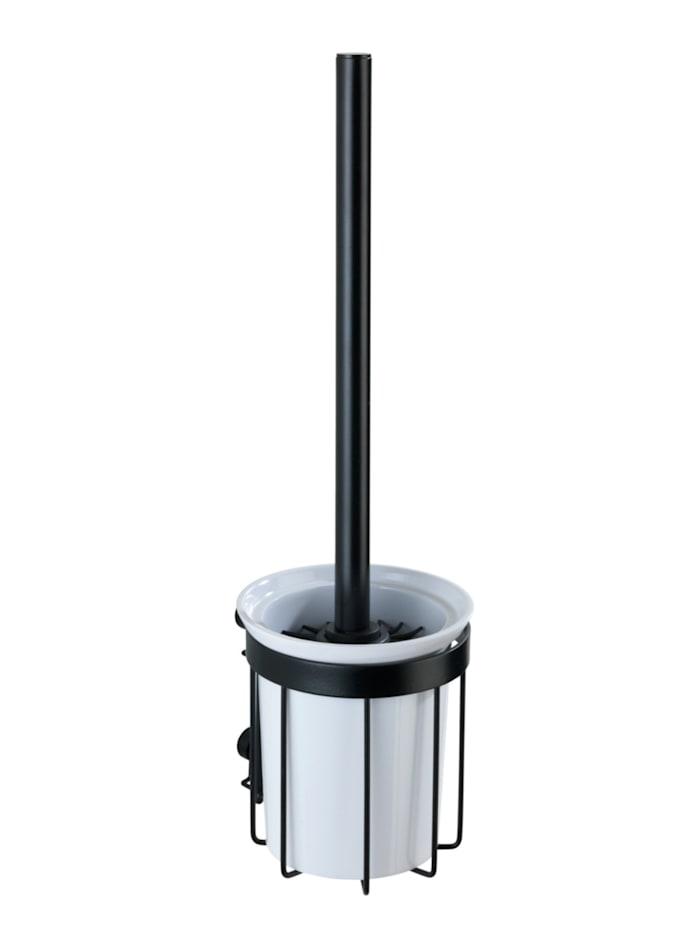 Wenko WC-Garnitur Classic Plus Black, mit hochwertigem Rostschutz, Schwarz, Behälter: Weiß