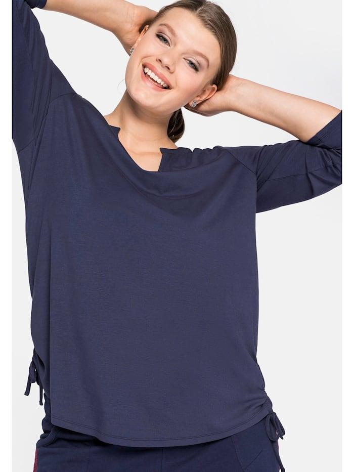 Sheego Sheego Shirt mit Schnürung am Saum, marine