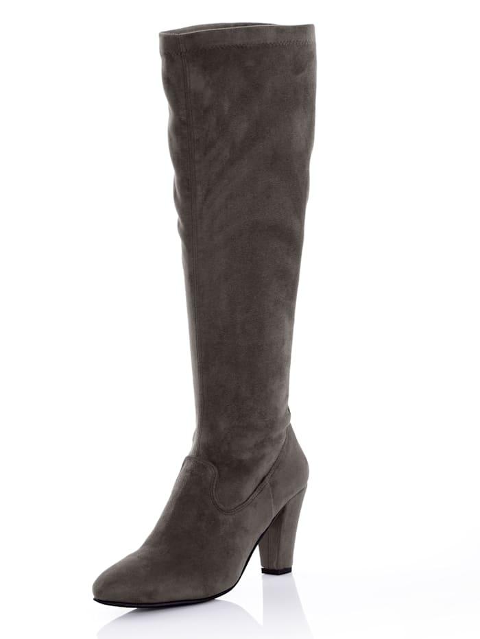 Alba Moda Stiefel aus elastischem Microsuede, Grau