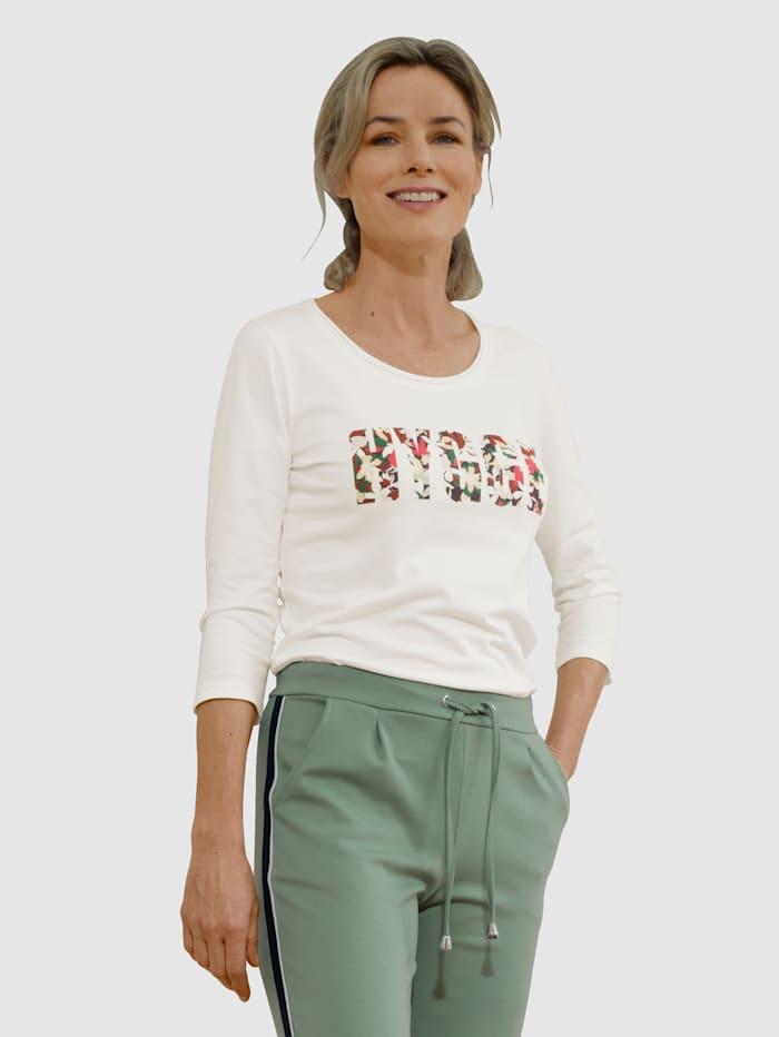 Dress In Shirt mit tollem Print, Wollweiß