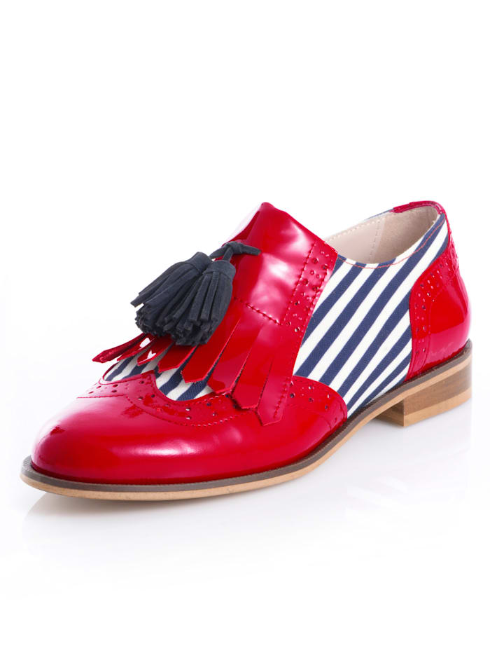 Alba Moda Slipper im martimen Style, Rot/Weiß/Marineblau