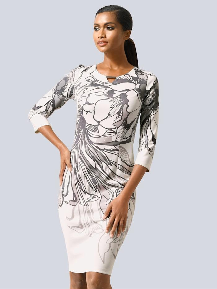 Alba Moda Kleid mit floralem Druck, Grau