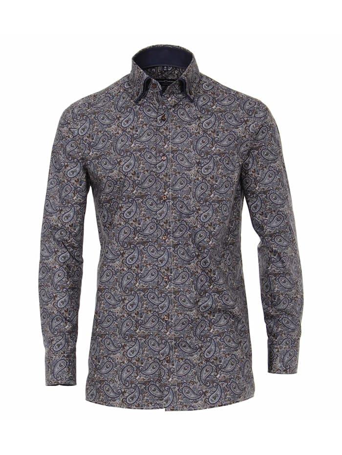 CASAMODA Hemd Print Comfort Fit, graues Dunkelblau
