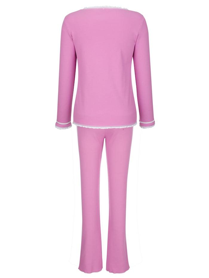 Pyjama avec détails romantiques en dentelle et noeud en satin