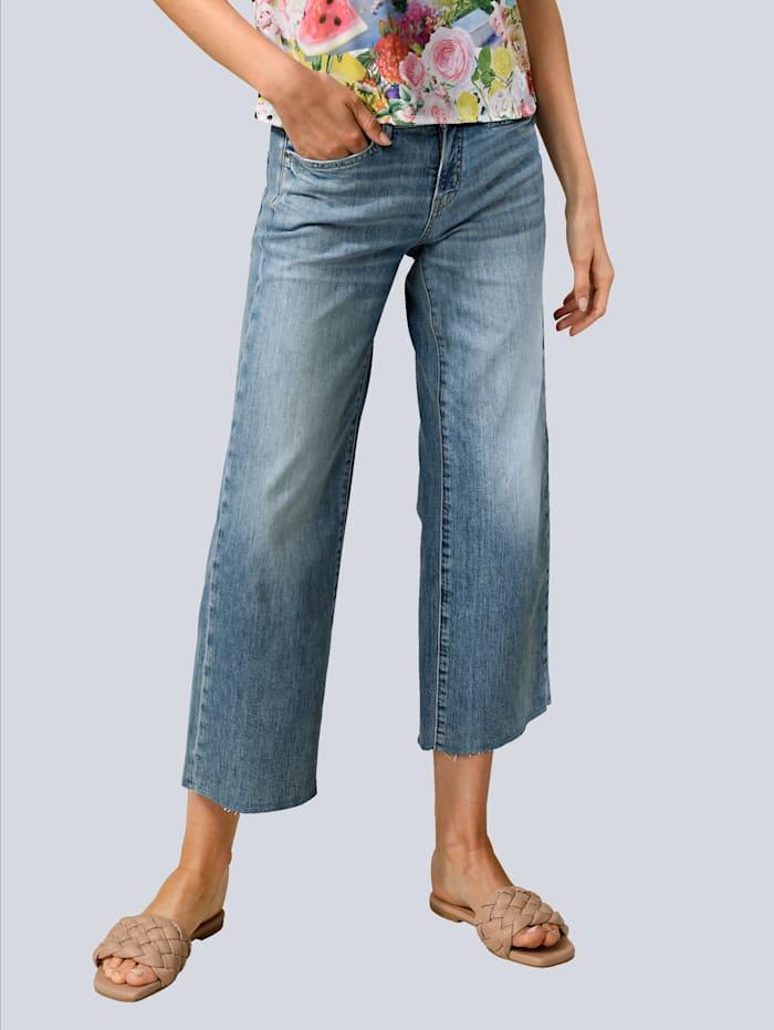 CAMBIO Jeans mit Fransen am Saum, Blue bleached