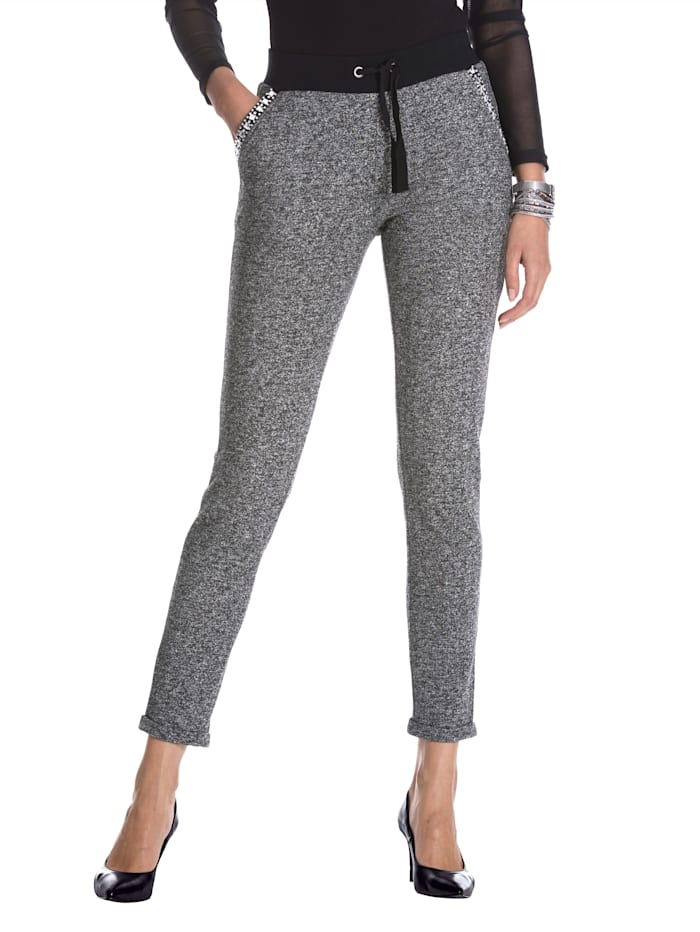 AMY VERMONT Sweatbroek in casual model, Zwart/Wit