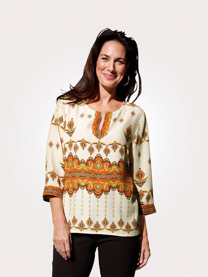 MONA T-shirt à imprimé mode placé, Écru/Brique