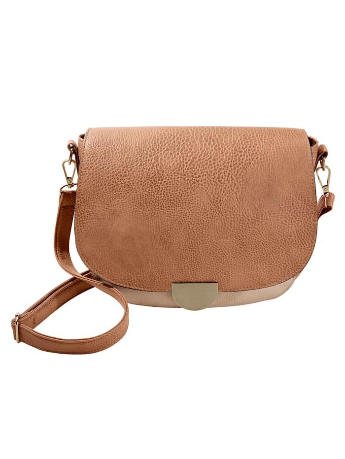 Väska med utbytbart lock, konjak/brun/röd