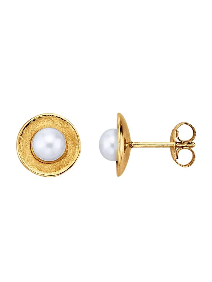 Yvette Ries Boucles d'oreilles à perles bouton de culture d'eau douce, Blanc