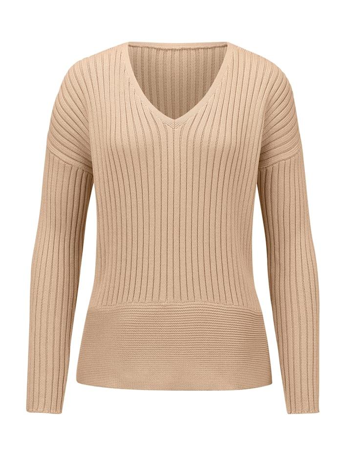 Alba Moda Pullover aus hochwertiger Pima Baumwolle, Sand