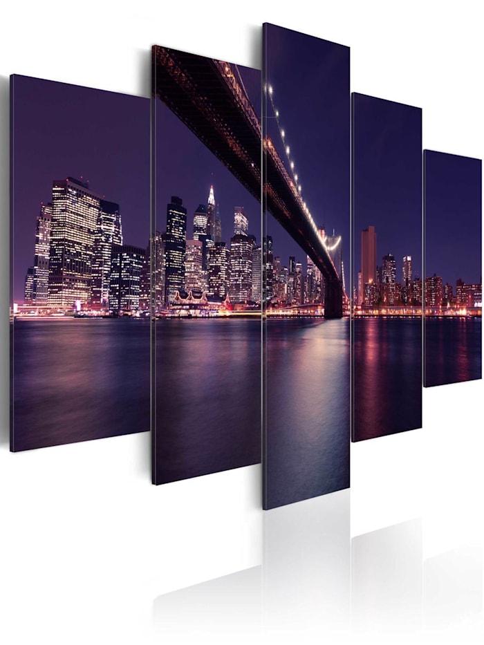 artgeist Wandbild Die letzte Nacht in New York, grey,red,violet,yellow,black