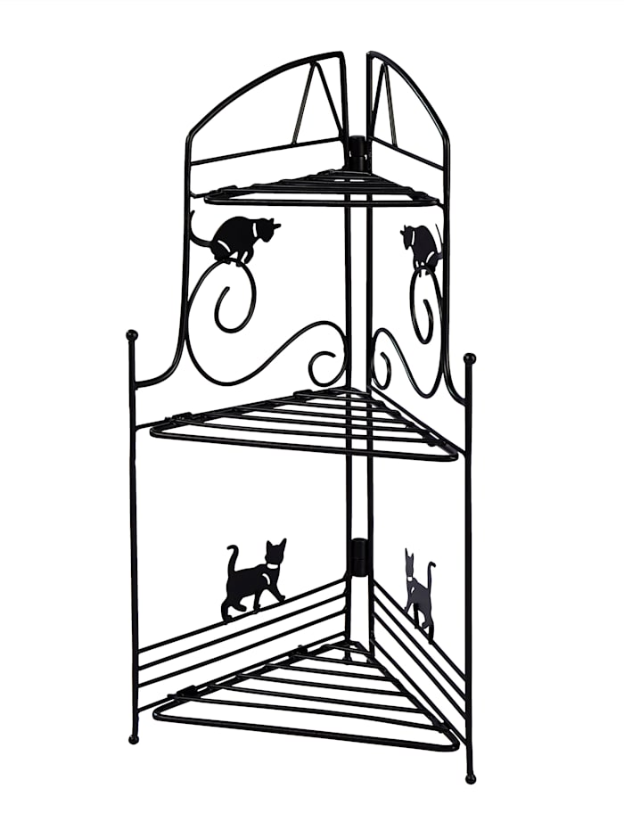 Eckregal 'Lustige Katzen', schwarz