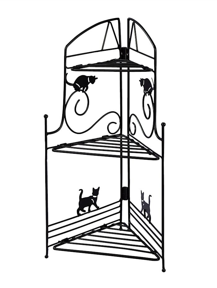 Hörnhylla med katter, svart