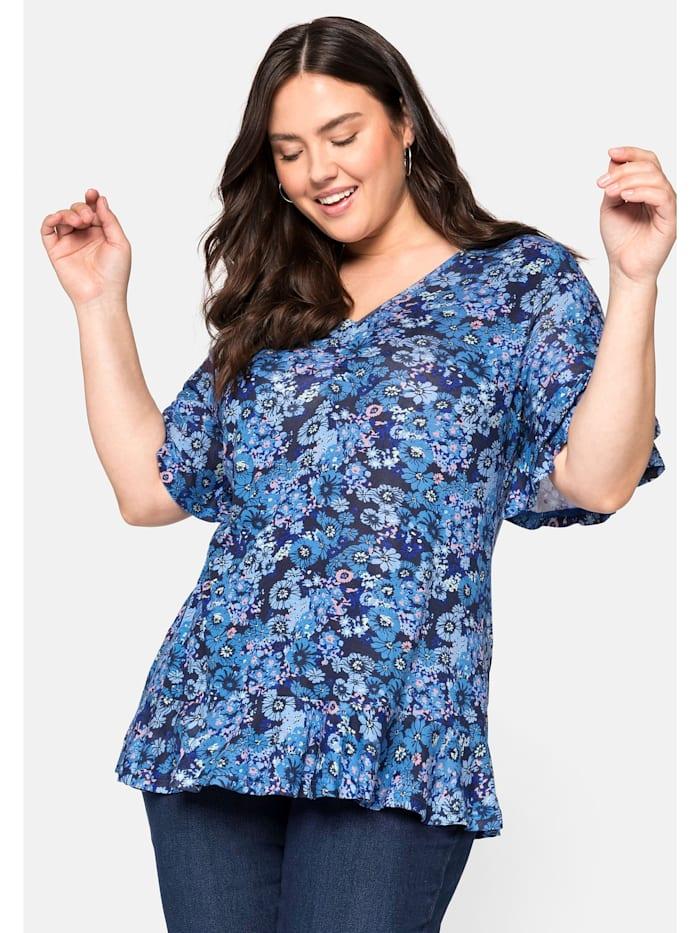 Sheego Sheego Shirt mit Volants und Blumendruck, jeansblau bedruckt