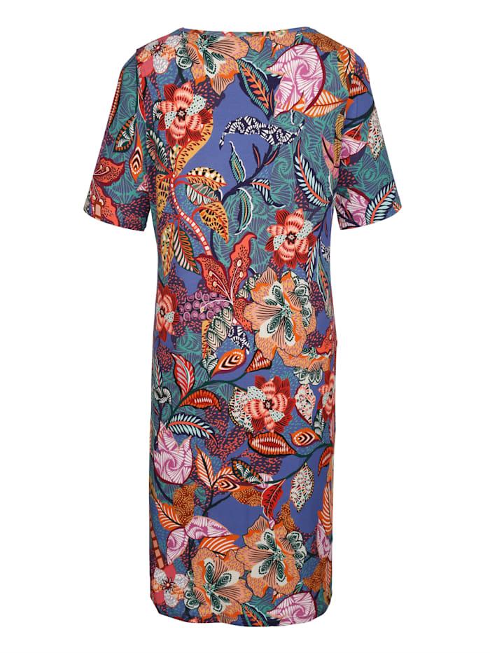 Kleid mit Netzeinsatz und Dekoelement am Ausschnitt