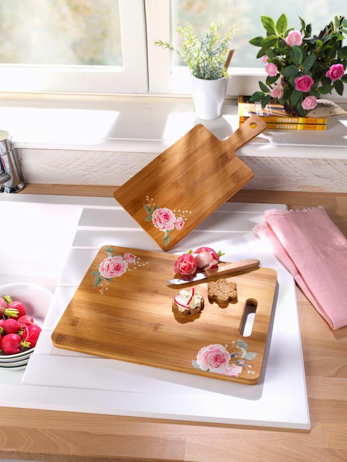 """Planche à découper en bambou """"Rose"""", grande"""