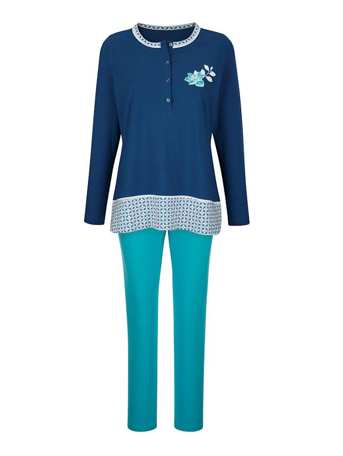 Blue Moon Pyjama met contrastkleurige inzet aan de zoom, Marine/Turquoise