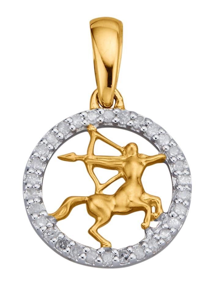 Sternzeichen-Anhänger mit Diamanten, Gelbgoldfarben