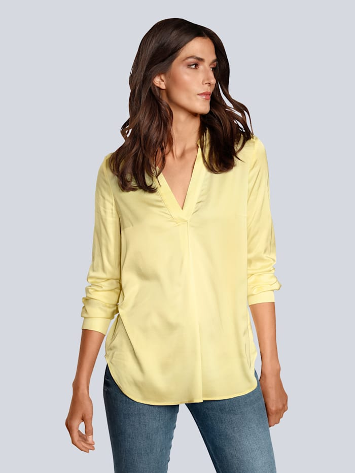 OUI Bluse in glänzender Optik, Gelb