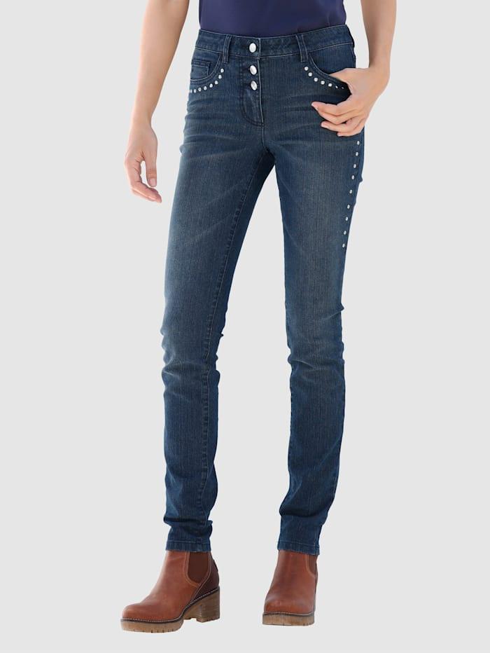 Laura Kent Jeans med dekorplattor, Dark blue