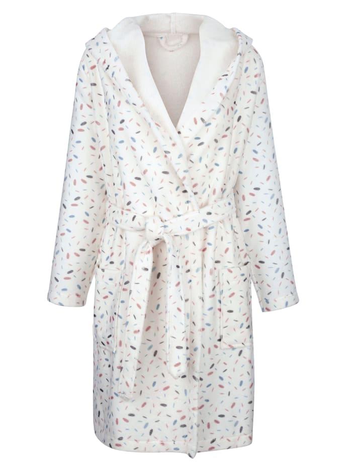 Blue Moon Robe de chambre Maille duveteuse, Écru/Vieux rose/Jade