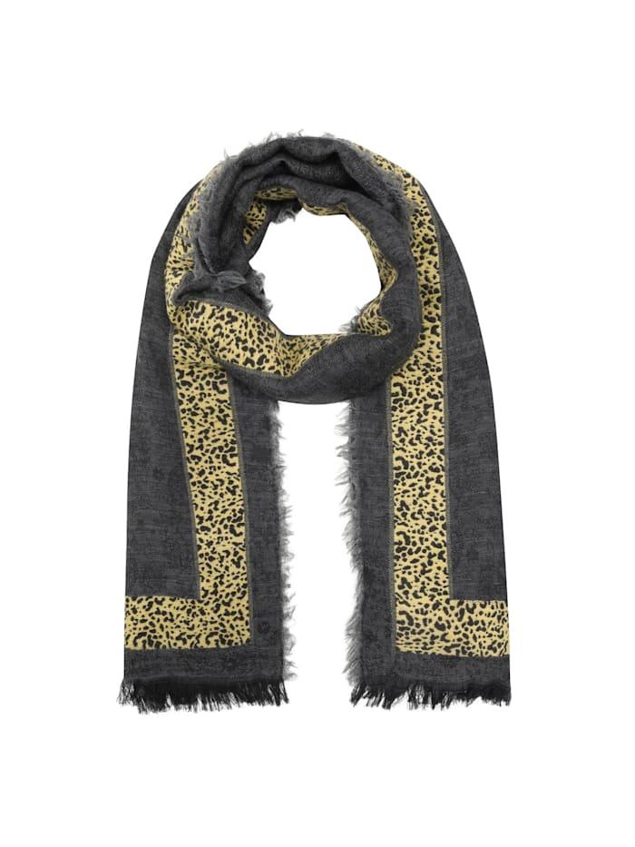 Codello Premium Paisley-Schal mit Leostreifen, grey