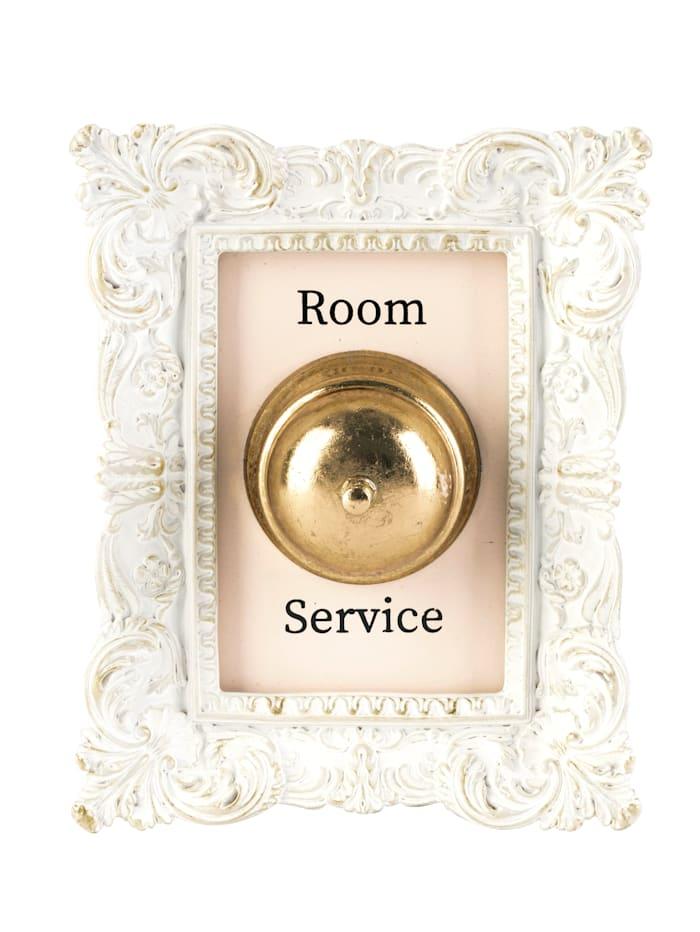 MARAVILLA Deko-Klingel, Room Service, Weiß/Goldfarben