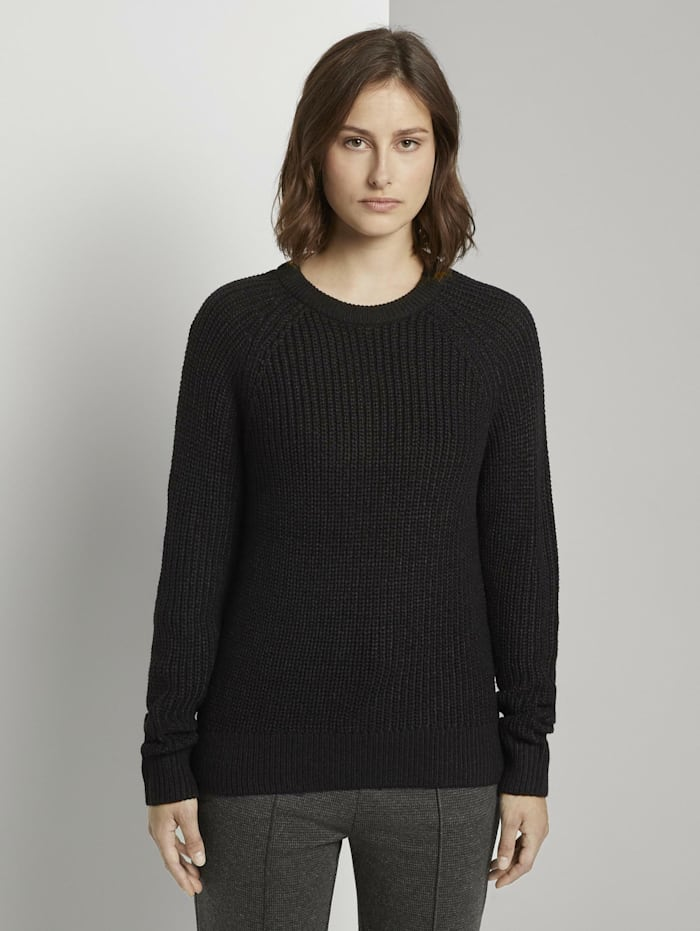 Tom Tailor Denim Basic Pullover mit Raglan-Ärmeln, Deep Black