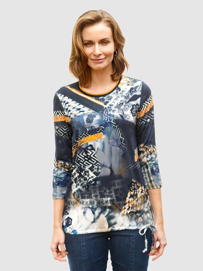Paola Shirt met grafische print, Okergeel/Marine/Wit
