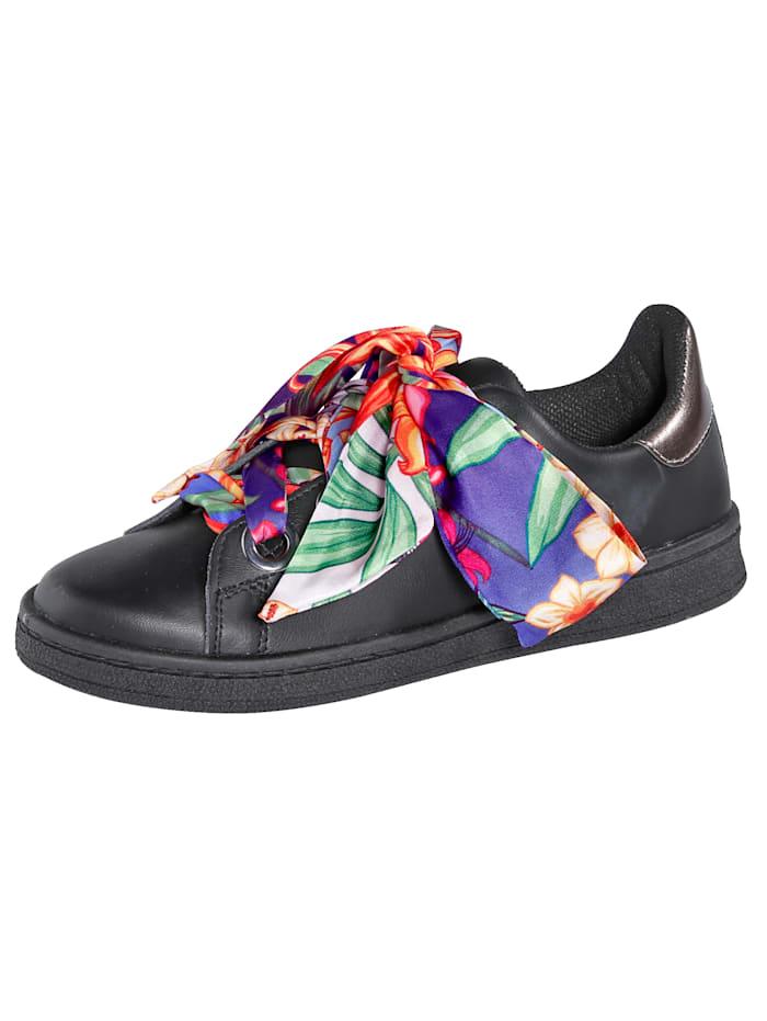 Sneaker mit auffälliger Satinschnürung, Schwarz